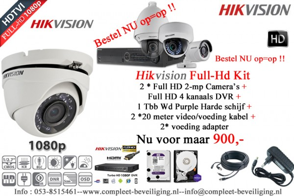 FULL HD compleet kit !! met 2 FULL HD Camera's