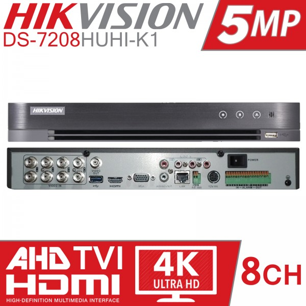 Hikvision DS-7208HUHI-K1, 8 kanaals, 1 HDD, DVR Turbo 4.0
